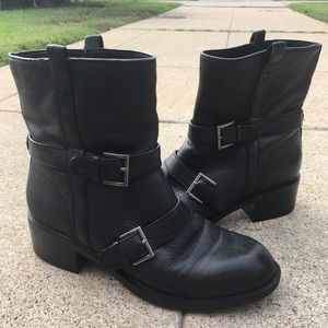 Black Moto Ankle Boots Cole Haan Nike Air buckle 8